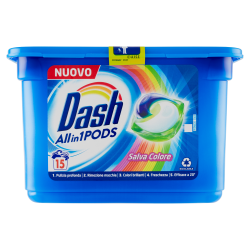Dash PODS Allin1 Detersivo Lavatrice in Capsule Salva Colore 15 Lavaggi